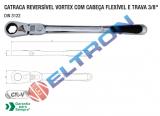 CATRACA REVERSÍVEl VORTEX COM CABEÇA FlEXÍVEl E TRAVA 3/8