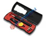 Ferro de solda a gas weller O kit de ferro a gás contém: Ferro P2C com ponta de solda, ponta de mini maçarico, ponta faca, ponta de ar quente e defletor, esponja e bandeja, estojo de armazenagem com compartimento para ferramenta e instruções.